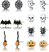 Sllaiss 7 Pairs Halloween Earrings For Women Men Stainless Steel Stud Earrings Set Black Spider Web Pumpkin Bat Earrings Skull Ghost Broom Stick Spider Halloween Jewelry