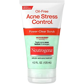 Neutrogena Oil-Free Acne Stress Control Power-Clear Face Scrub, Salicylic Acid Acne Treatment for Acne-Prone Skin, 4.2 fl. oz