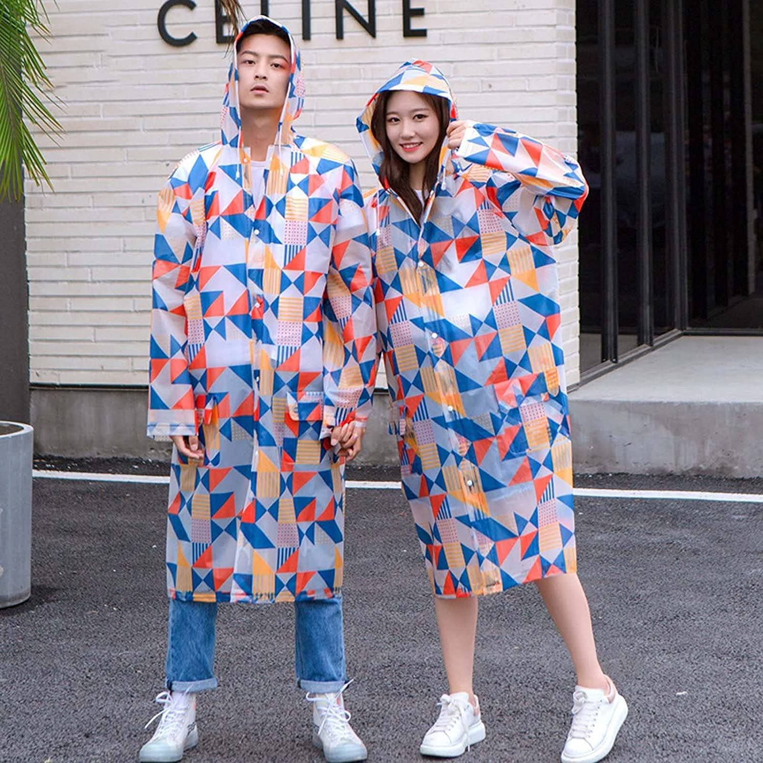 FHGH EVA Couples Long Raincoat Triangle Pattern A 2PCS Ranking TOP13 Geometry Max 82% OFF