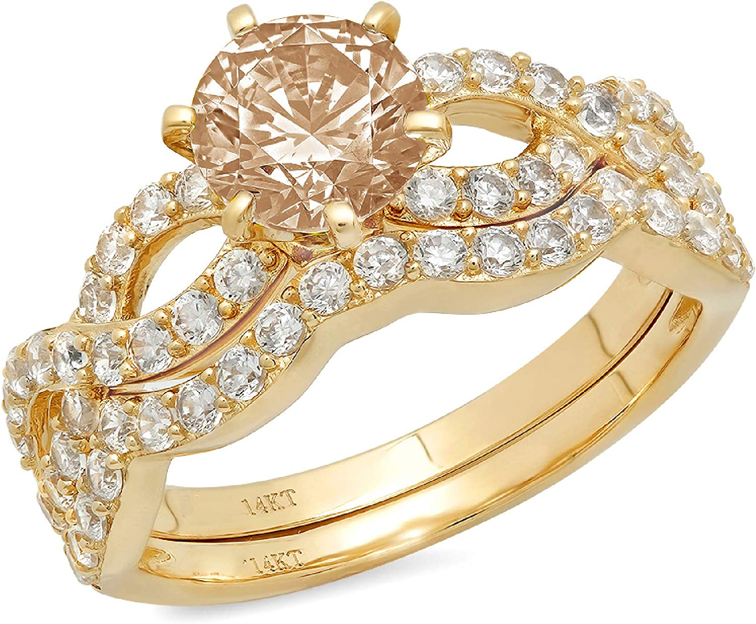 1.52ct Round Cut Halo Pave Solitaire Split Shank Accent Brown Champagne Simulated Diamond Designer Statement Classic Curved Ring Band Set Real 14k Yellow Gold