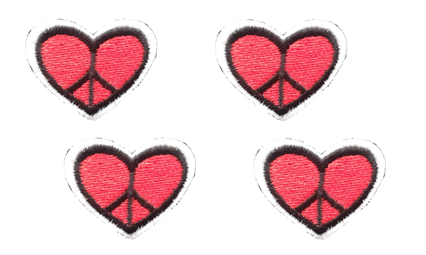 4 small pieces PEACE HEART Applique Embroidered Motif Fabric Love Valentine Scrapbooking Decal 1.2 x 1.1 inches (3 x 2.8 cm)