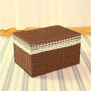Electric oven Panier de rangement en corde de papier tressée avec couvercle pour un transport facile Boîte de rangement pr...