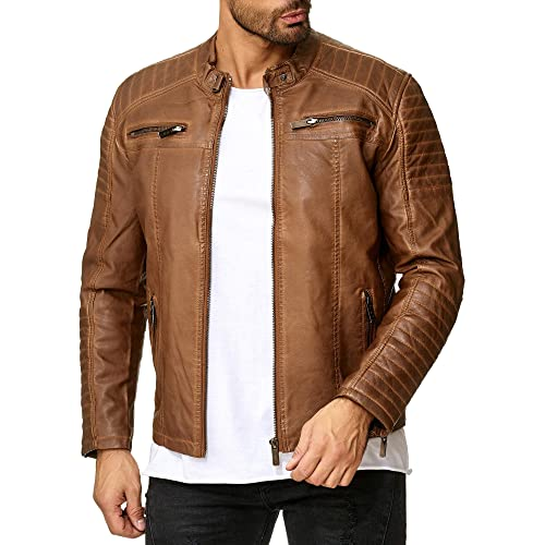 a5e02ce0aaf Red Bridge Men s Faux Leather Genuine Jacket Transition Biker Ribbed  Fashion Cotton Coats