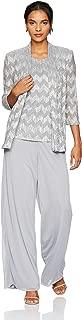 R&M Richards Women's 2 PCE Mock Print Foil Crinkle Pant Set