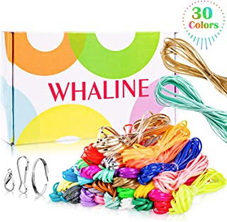 Whaline 30 Colors Plastic Lacing Cords with 20 Keychain Clips 20 Hooks and 10 Clasps, Gimp Bracelet Making Scoubidou Strings with Box for DIY Craft Jewelry Making (492 feet)