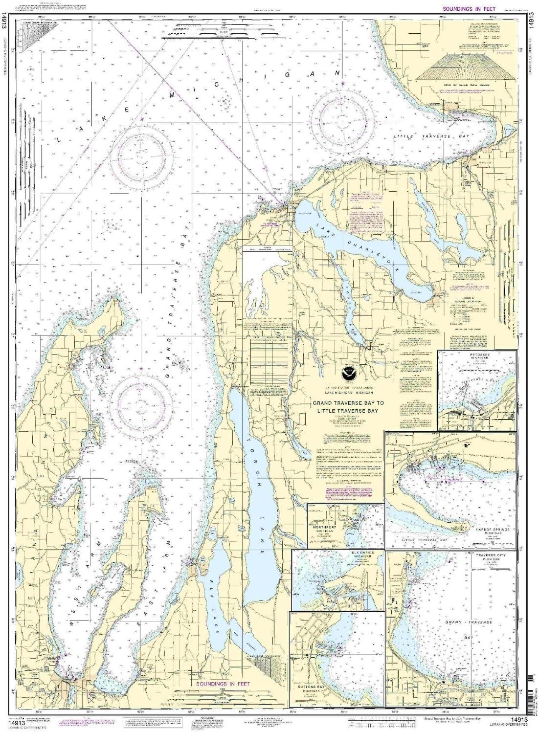 NOAA 14913-Grand Traverse Bay Little Spr 1 year warranty Harbor Over item handling to