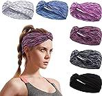 Elastic Sports Headbands Hairband for Women Wide Sweatband Summer Non Slip Headband Thin Head Wrap for Running Yog Exercise Fitness