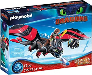 PLAYMOBIL DreamWorks Dragons 70727 Dragon Racing: Hiccup and Toothless, With Light Module, for Children Ages 4+