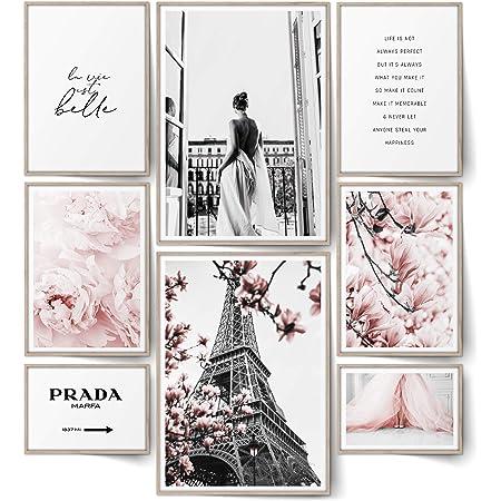 BLCKART Lot de 8 posters Infinity Rose Love - Élégants - Double face - Fleurs roses - Pour salon, chambre à coucher, bureau - Décoration (L | 2 x A3 | 4 x A4 | 2 x A5 | Sans cadre - Rose Love | 8)