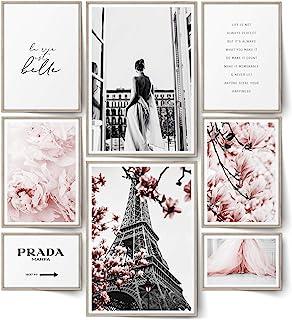 BLCKART Lot de 8 posters Infinity Rose Love - Élégants - Double face - Fleurs roses - Pour salon, chambre à coucher, burea...