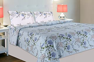 haus & kinder Victorian Summer Dream 100% Cotton Double Bedsheet with 2 Pillow Covers, 186 TC, Size 100 inch by 90 inch (B...