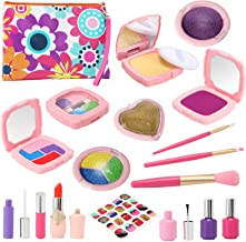 Sunhop Kids Makeup Kit for Girl, 19PCS Pretend Play Makeup Kids Toy with Cosmetic Case, Christmas Halloween Birthday Gifts...