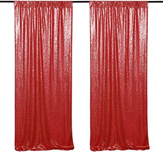 Red Sequin Backdrop 2 Pieces 2ftx8ft Sequin Fabric Backdrop Glitter Photography Backdrop Party Decoration Background Backdrop