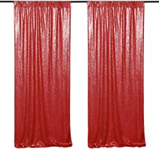 Red Shimmer Sequin Backdrop 2 Pieces 2FTx8FT Christmas Party Fabric Curtain Sparkly Photography Background