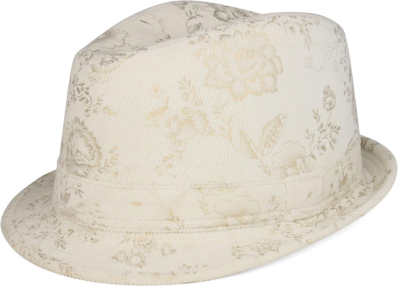 MG Ladies' Corduroy Printed Fedora Hat-8927