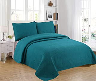Sapphire Home 3-Piece King/Cal-King Oversize Bedspread Coverlet Bedding Set w/2 Shams, Soft Touch, Solid, Stylish Embossed Pattern, All-Season Oversize Comforter Bed Cover, Emma King Teal Green