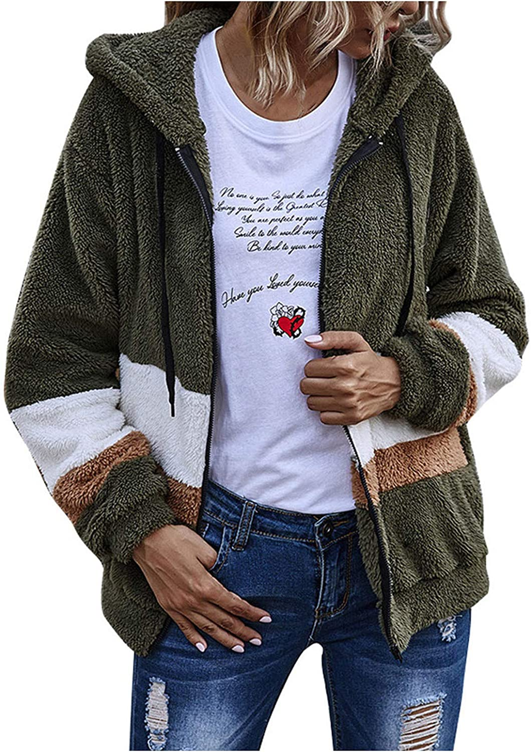Eoailr New life Womens Zipper Front Sherpa Fl Fuzzy Hoodie Special price Strpped