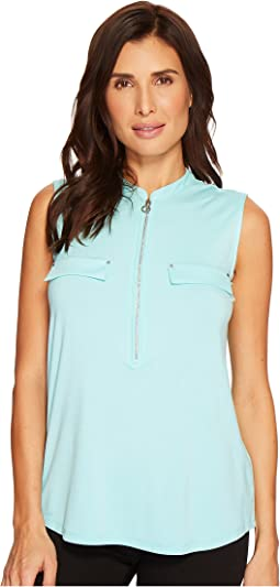 Calvin Klein - Sleeveless Top with 1/2 Zip and Pocket