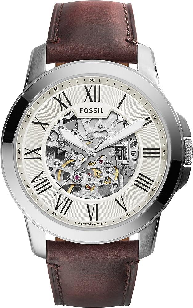 fossil orologio analogico automatico uomo con cinturino un pelle e cassa in  acciaio inossidabile me3099
