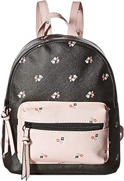 Two-Tone Floral Backpack
