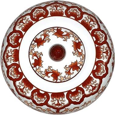 "Oriental Furniture Warehouse Chinese Red Coral Porcelain Jar 11"" H"