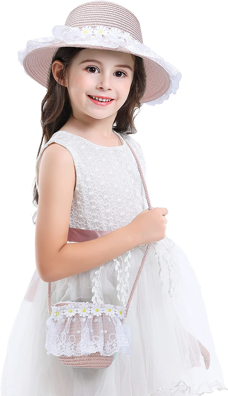 Bienvenu Girls Hats for Kids Beach Hat with Brim Bag Gi New item OFFer Set Wide