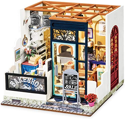 lowest Rolife outlet online sale DIY Wooden Dollhouse Kit with Miniature Furniture,Model Building popular Kits with Accessories and LED, for Kids(Nancy's Bake Shop) outlet online sale