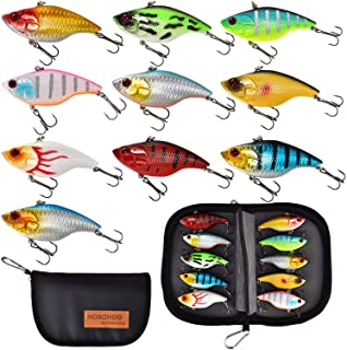 NOBONDO 10 PCS Lipless Crankbait Fishing Lures for Saltwater Freshwater with Portable Bag - 3/5 OZ VIB Lures with 3D Eyes,...