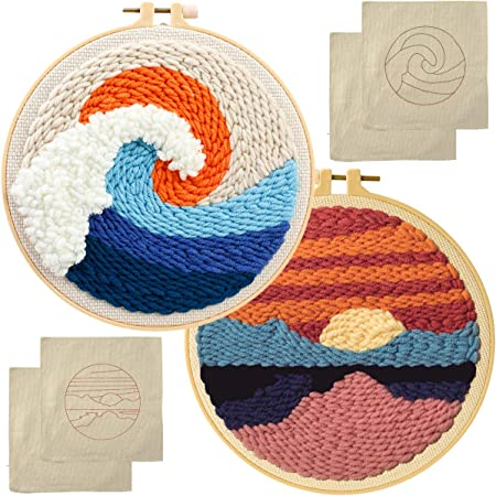 2 Pack Punch Needle Embroidery Starter Kits for Adults Kids with Instructions Arts and Crafts for Adults Embroidery Fabric Embroidery Yarn Rug
