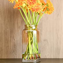 Slegan Vintage Glass Vase 12 Inch Hand Blown Optic Amber Vase for Home Decor (Misty Amber)