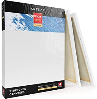 """Arteza 18x24"""" Professional Stretched White Blank Canvas, Bulk Pack of 4, Primed, 100% Cotton for Painting, Acrylic Pouring, Oil Paint & Wet Art Media, Canvases for Artist, Hobby Painters & Beginner"""