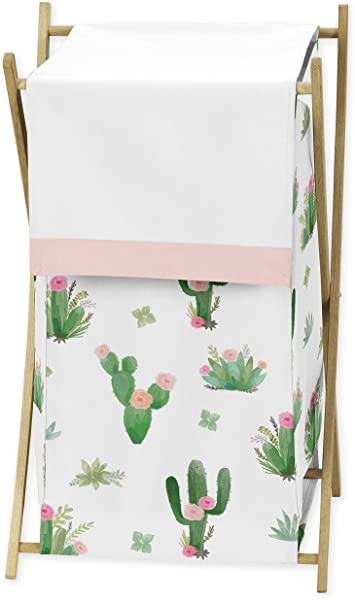 Pink And Green Boho Watercolor Baby Kid Clothes Laundry Hamper For Cactus Floral Collection By Sweet Jojo Designs