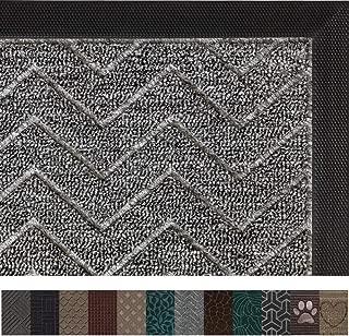 Gorilla Grip Original Durable Rubber Door Mat, 29x17, Heavy Duty Doormat, Indoor Outdoor, Waterproof, Easy Clean, Low-Profile Mats for Winter Snow, Entry, Patio, High Traffic Areas, Charcoal Chevron