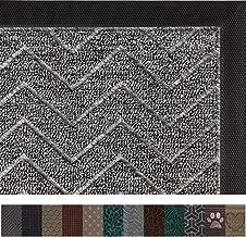 Gorilla Grip Original Durable Rubber Door Mat, 29 x 17, Heavy Duty Doormat, Indoor Outdoor, Waterproof, Easy Clean, Low-Profile Mats for Entry, Garage, Patio, High Traffic Areas, Charcoal Chevron
