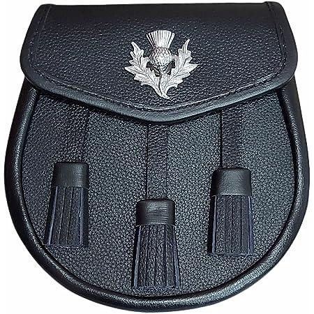 Kilt Sporran Thistle badge 3 Tassels, Black Leather With Chain Belt