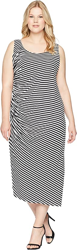 Vince Camuto Specialty Size Plus Size Sleeveless Side Ruched Amalfi Stripe Dress