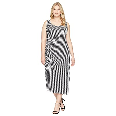 Vince Camuto Specialty Size Plus Size Sleeveless Side Ruched Amalfi Stripe Dress (Rich Black) Women
