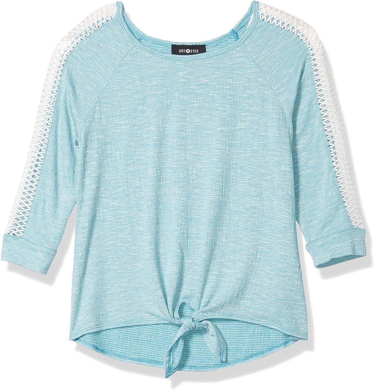 Amy Byer Girls' Lattice Sleeve Tie Front Top