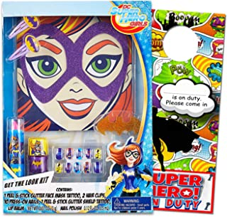 Batgirl DC Comics Super Hero Girls Dress Up Playset With Hair Clips, Temporary Face Tattoos, Press On Nail Stickers & Lip Balm Set Includes Separately Licensed GWW Dressing Room SuperHero Door Hangers