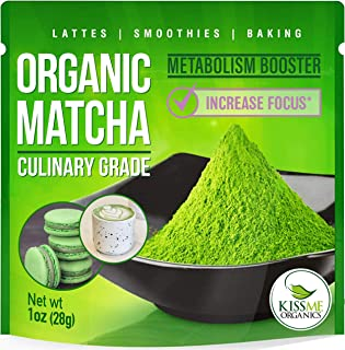 Organic Matcha Green Tea Powder - Powerful Antioxidant Japanese Culinary Grade - 1oz (28 grams) - Increases Energy and Supports Weight Loss Goals and Healthy Metabolism - By Kiss Me Organics