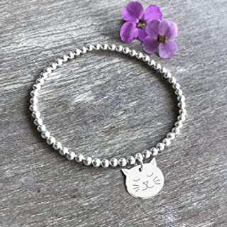 Personalised Sterling Silver Little Cat Face Stretch Bead Bracelet, personalised gift, stretch bead bracelet, birthday gif...