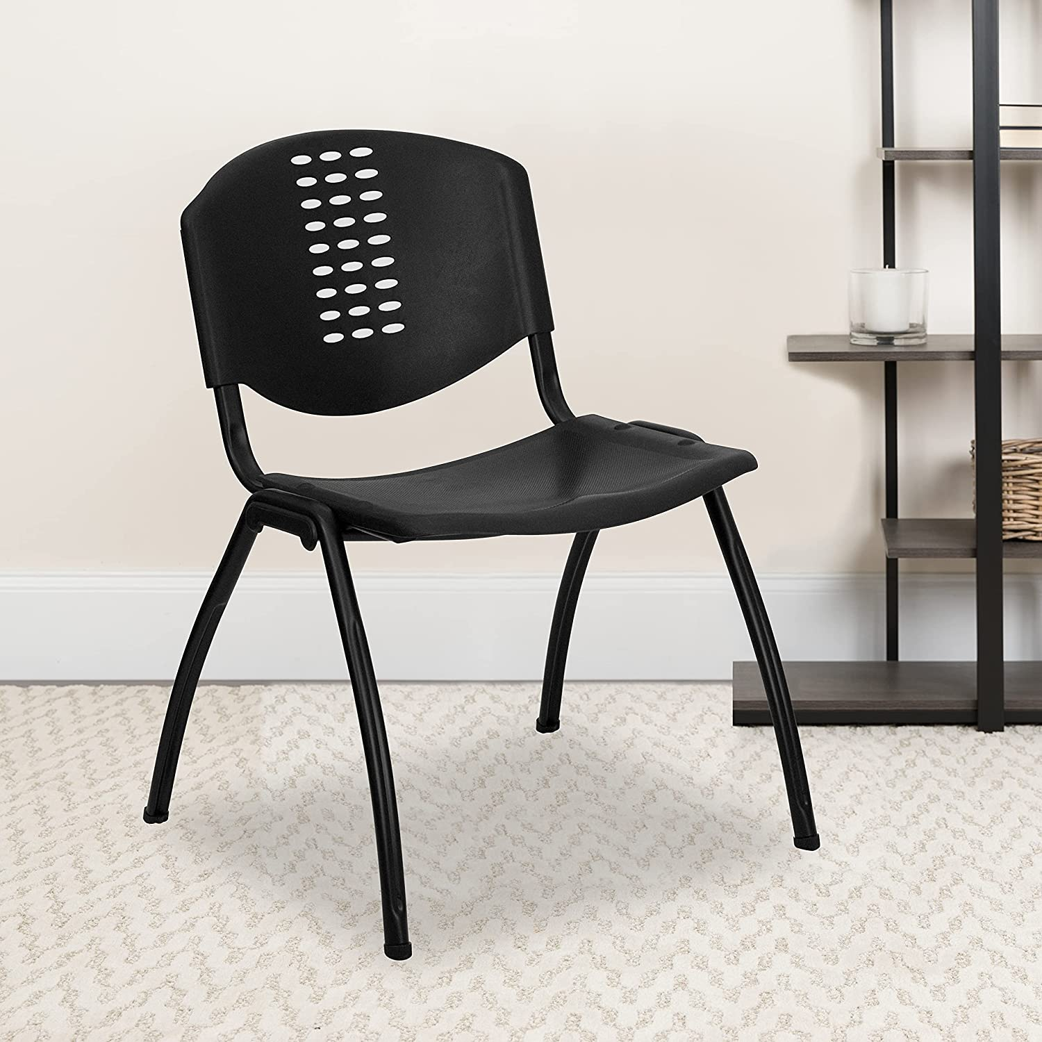 BizChair 5 Pack 880 lb. Rated Black Chair Stack C - Oval High quality Spring new work Plastic
