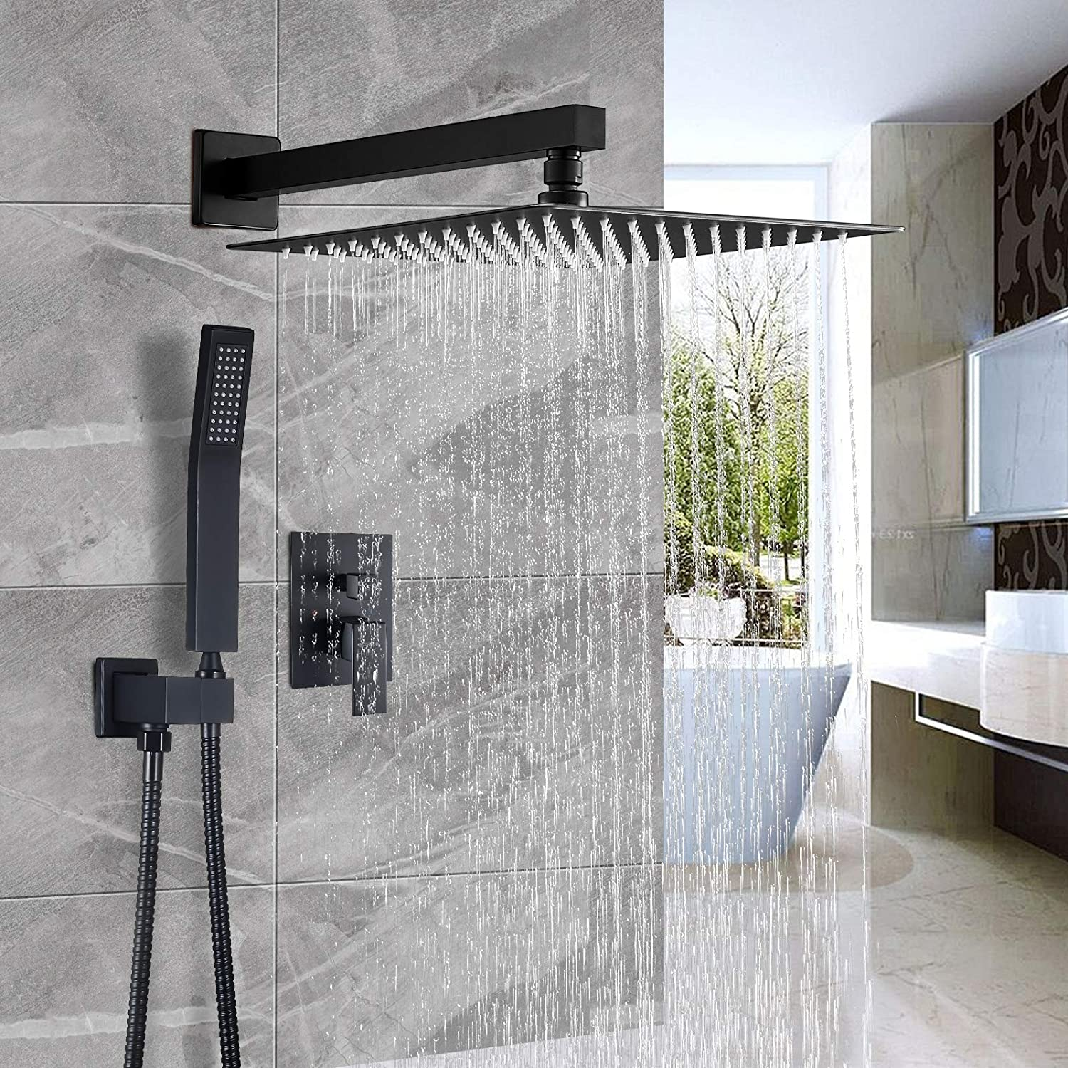Shower Faucet Set for Bathroom Rough-in Valve Body and Trim Included Chrome Cobbe Shower System,Shower Faucets Sets Complete,12 inches Rainfall Shower Head with Handheld