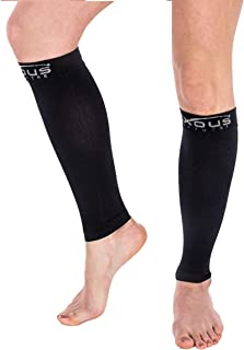 Calf Compression Sleeve - Graduated Compression Socks for Shin Splint, Recovery, Varicose Veins, Maternity, for Men & Women (Large-X Large) Calf Size 18