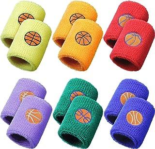 24 Pieces Sports Wristband for Kids, Wrist Sweatbands Cotton Terry Cloth Wrist Bands with 6 Basketball Design for Gym Spor...