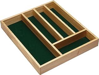 KitchenCraft Rangement Couverts/ Écrin en Bois avec Doublure en Feutrine Verte (36x31cm)