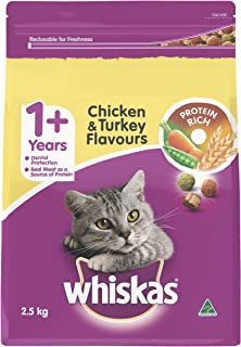 WHISKAS 1+ Years, Adult, Chicken and Turkey Dry Cat Food 2.5kg Bag, 4 Pack