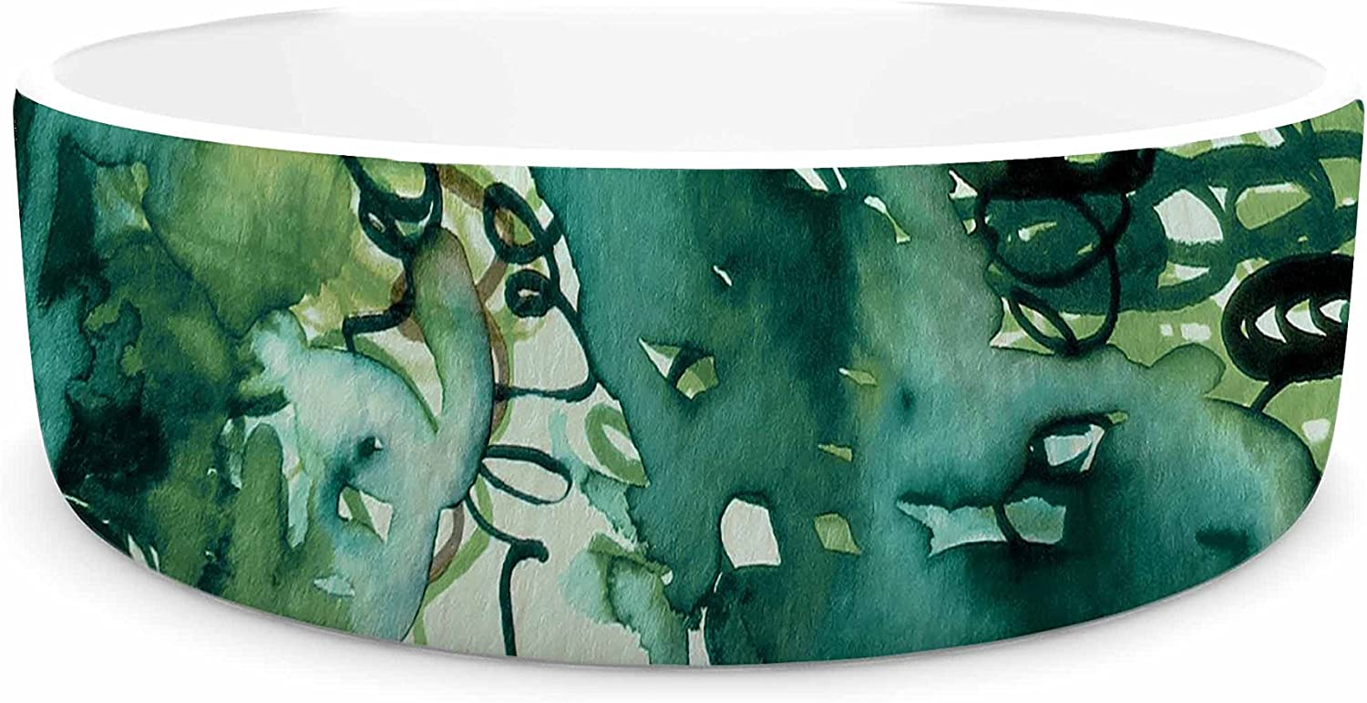 KESS InHouse EBI Emporium Beauty in The Rain, Green Emerald Green Pet Bowl, 7  Diameter
