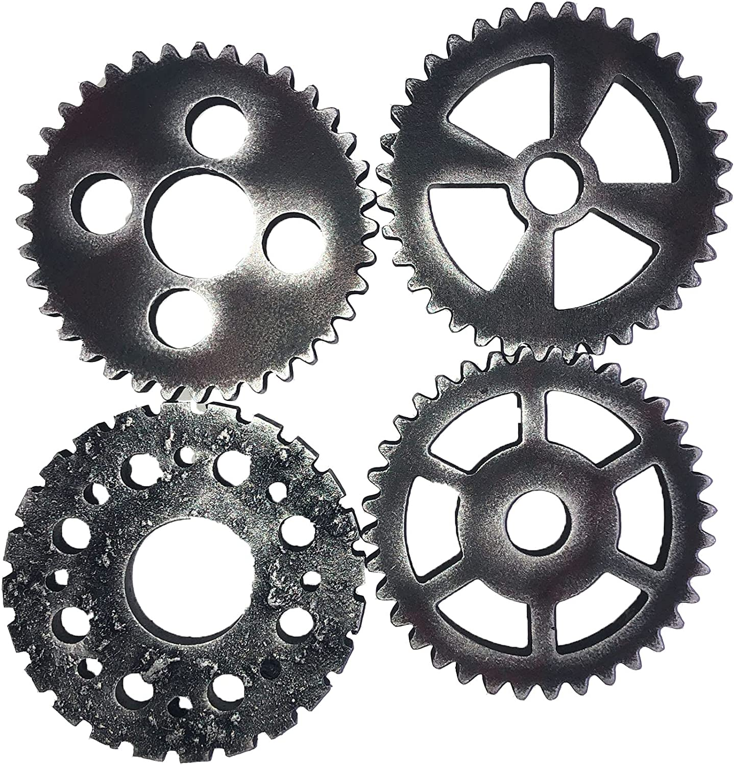 Vintage Steampunk Gear Wheel, 4 Pieces 12cm Suspensible Wooden Gear fit for Home Bar Art Craft Wall Decoration