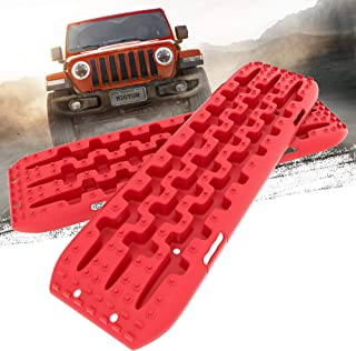 BIGTUR Recovery Traction Tracks Tire Boards Sand Snow Mud Off-Road Ladder 4WD (2Pcs, 2-Gen) (Tangerine)